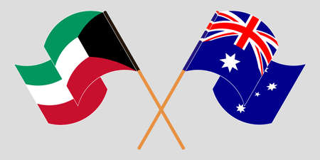 Crossed and waving flags of Australia and Kuwait. Vector illustration Standard-Bild - 154932824