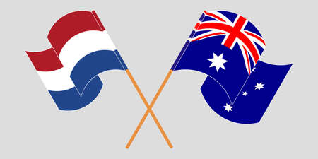Crossed and waving flags of Australia and the Netherlands. Vector illustration Standard-Bild - 155329852