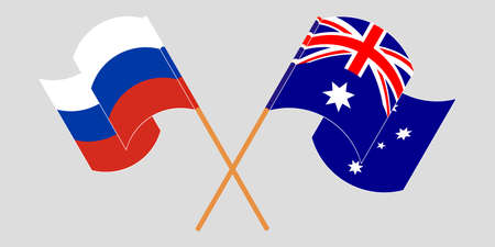 Crossed and waving flags of Australia and Russia. Vector illustration Standard-Bild - 155329826