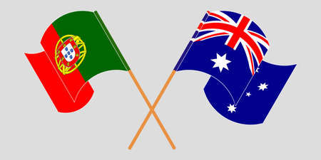 Crossed and waving flags of Australia and Portugal. Vector illustration