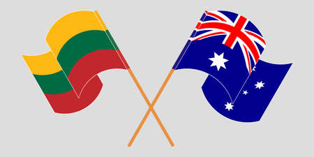 Crossed and waving flags of Australia and Lithuania. Vector illustration Illustration