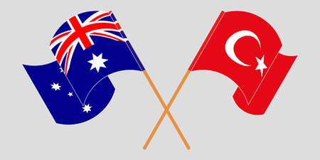 Crossed and waving flags of Australia and Turkey. Vector illustration