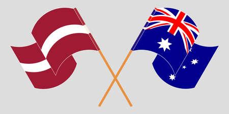 Crossed and waving flags of Australia and Latvia. Vector illustration Standard-Bild - 155329674