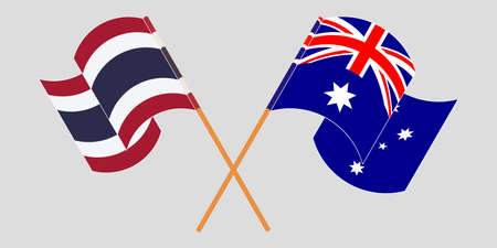 Crossed and waving flags of Australia and Thailand. Vector illustration