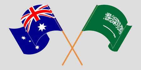 Crossed and waving flags of Australia and the Kingdom of Saudi Arabia. Vector illustration