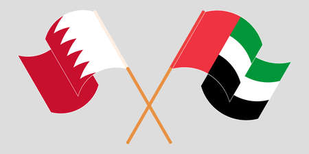 Crossed and waving flags of Bahrain and the United Arab Emirates. Vector illustration Illustration