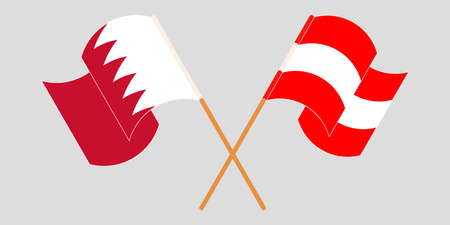 Crossed and waving flags of Bahrain and Austria. Vector illustration Standard-Bild - 155329481
