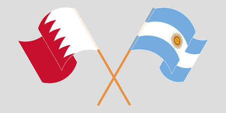 Crossed and waving flags of Bahrain and Argentina. Vector illustration