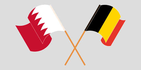 Crossed and waving flags of Bahrain and Belgium. Vector illustration