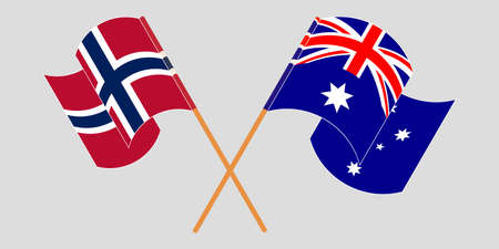 Crossed and waving flags of Australia and Norway. Vector illustration