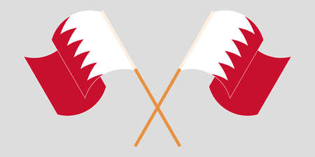 Crossed and waving flags of Bahrain. Vector illustration Illustration