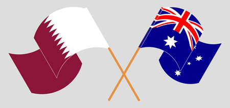 Crossed and waving flags of Australia and Qatar. Vector illustration
