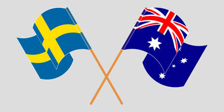 Crossed and waving flags of Australia and Sweden. Vector illustration Illusztráció