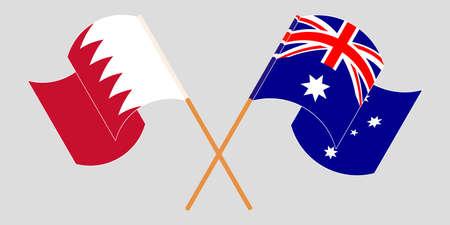 Crossed and waving flags of Bahrain and Australia. Vector illustration Standard-Bild - 155329712