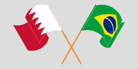 Crossed and waving flags of Bahrain and Brazil. Vector illustration