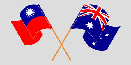 Crossed and waving flags of Australia and Taiwan. Vector illustration