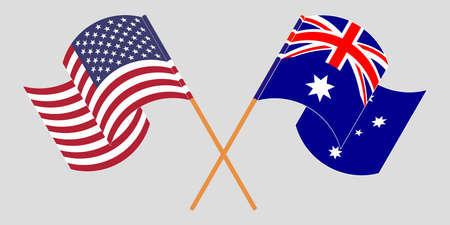 Crossed and waving flags of Australia and the USA. Vector illustration