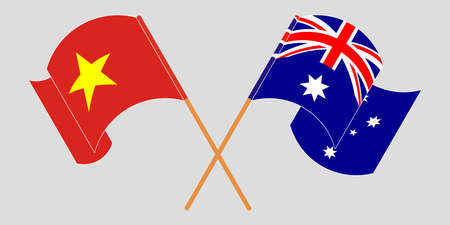 Crossed and waving flags of Australia and Vietnam. Vector illustration  イラスト・ベクター素材