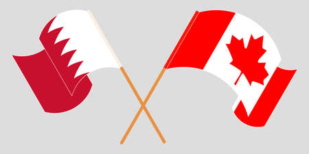 Crossed and waving flags of Bahrain and Canada. Vector illustration Illustration