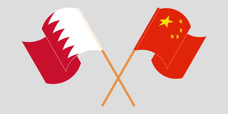Crossed and waving flags of Bahrain and China. Vector illustration