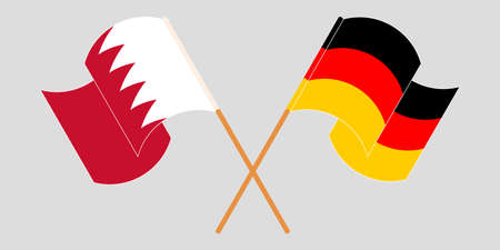 Crossed and waving flags of Bahrain and Germany. Vector illustration Illustration