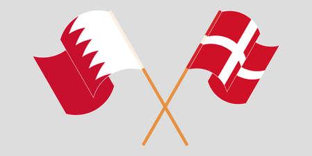 Crossed and waving flags of Bahrain and Denmark. Vector illustration Standard-Bild - 155329693
