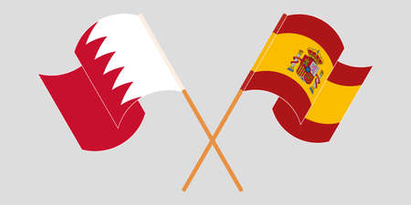 Crossed and waving flags of Bahrain and Spain. Vector illustration Illustration