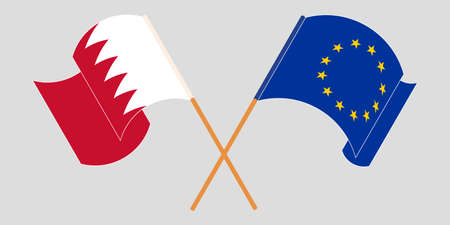 Crossed and waving flags of Bahrain and the EU. Vector illustration Standard-Bild - 155329758