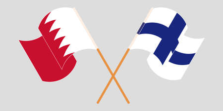 Crossed and waving flags of Bahrain and Finland. Vector illustration Illustration