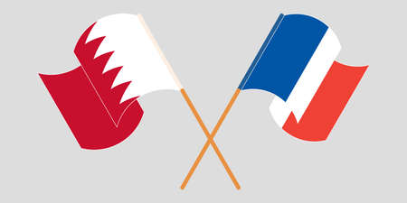 Crossed and waving flags of Bahrain and France. Vector illustration