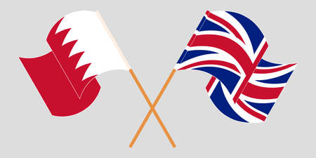 Crossed and waving flags of Bahrain and the UK. Vector illustration Standard-Bild - 155329594