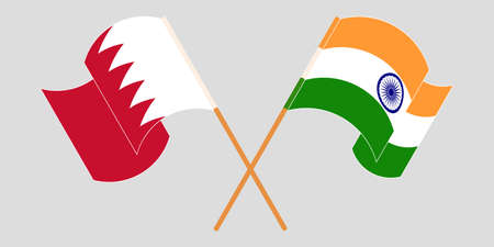 Crossed and waving flags of Bahrain and India. Vector illustration Illustration