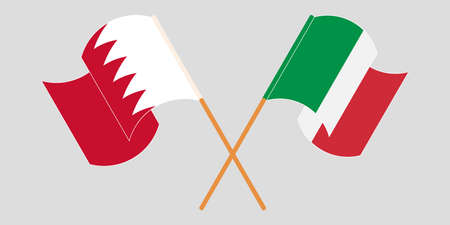 Crossed and waving flags of Bahrain and Italy. Vector illustration Standard-Bild - 155329790