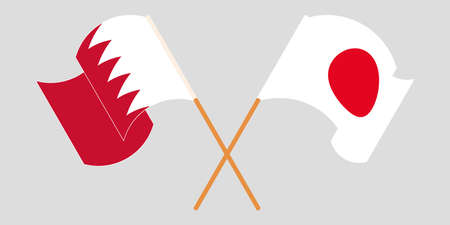 Crossed and waving flags of Bahrain and Japan. Vector illustration