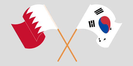 Crossed and waving flags of Bahrain and South Korea. Vector illustration Standard-Bild - 155329553