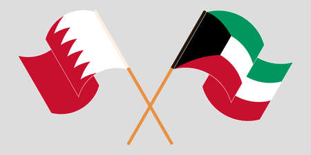 Crossed and waving flags of Bahrain and Kuwait. Vector illustration