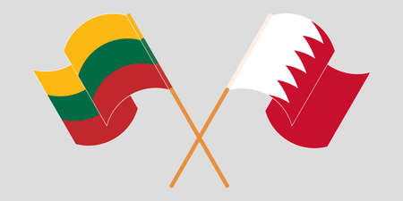Crossed and waving flags of Bahrain and Lithuania. Vector illustration