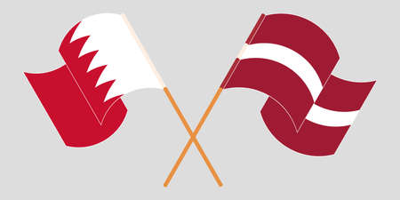 Crossed and waving flags of Bahrain and Latvia. Vector illustration Illustration