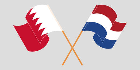 Crossed and waving flags of Bahrain and the Netherlands. Vector illustration Illustration