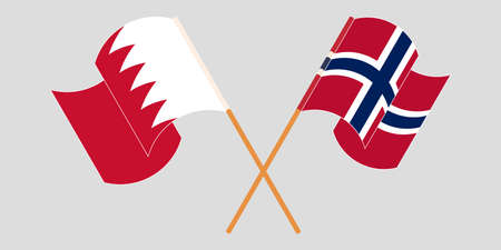 Crossed and waving flags of Bahrain and Norway. Vector illustration Illustration