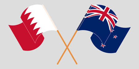 Crossed and waving flags of Bahrain and New Zealand. Vector illustration 일러스트