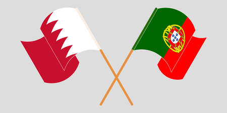 Crossed and waving flags of Bahrain and Portugal. Vector illustration