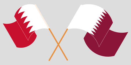 Crossed and waving flags of Bahrain and Qatar. Vector illustration