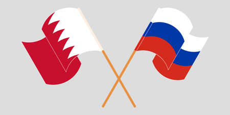 Crossed and waving flags of Bahrain and Russia. Vector illustration
