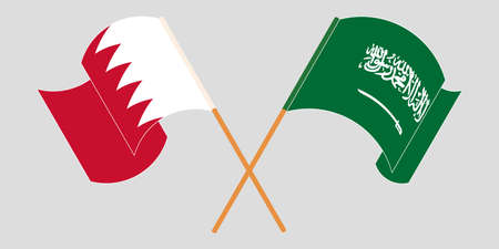 Crossed and waving flags of Bahrain and Kingdom of Saudi Arabia. Vector illustration