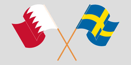 Crossed and waving flags of Bahrain and Sweden. Vector illustration