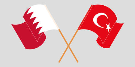 Crossed and waving flags of Bahrain and Turkey. Vector illustration