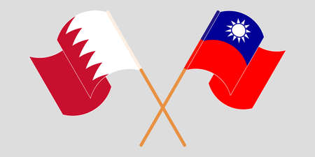 Crossed and waving flags of Bahrain and Taiwan. Vector illustration Illustration