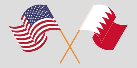 Crossed and waving flags of Bahrain and the USA. Vector illustration 일러스트
