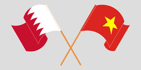 Crossed and waving flags of Bahrain and Vietnam. Vector illustration